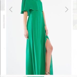 BCBG secha one-shoulder draped gown in emerald